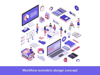 The workflow isometric design concept