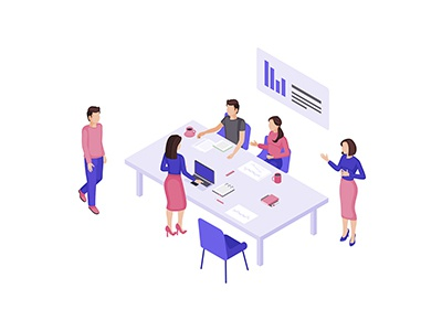 Office workers isometric design concept