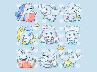 Cute animal stickers design