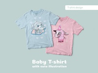 Baby Tshirts witch cute illustration design