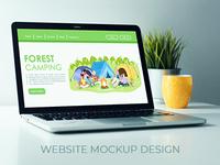 Forest camping website mockup design