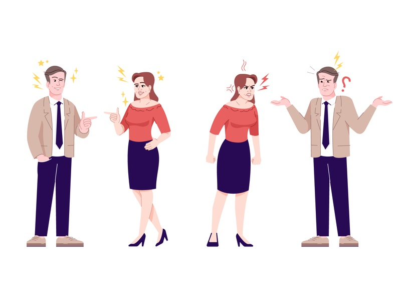 Different characters emotions. Vector illustration characters cartoon character cartoon emotions anger relationships relationship vector illustraion character design characterdesign character