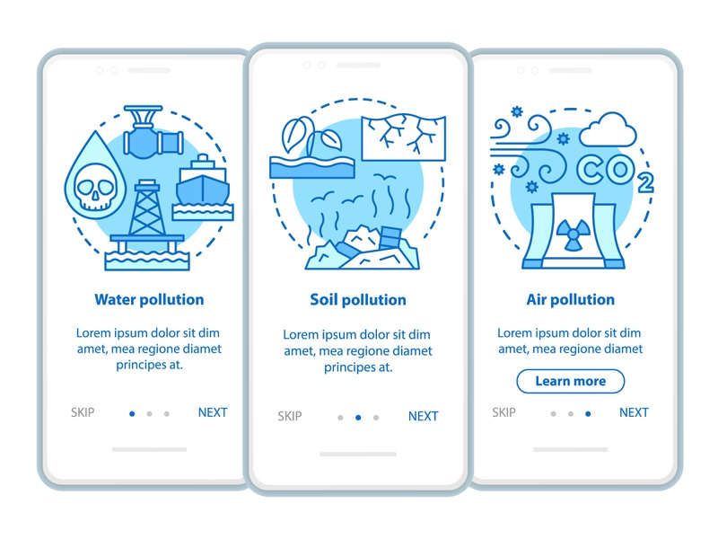 Water, soil and air pollution concepts infographic earthday illustration nature screen app ecological ecologic ecology eco onboarding ui mobile appscreen icon concept pollution air water soil