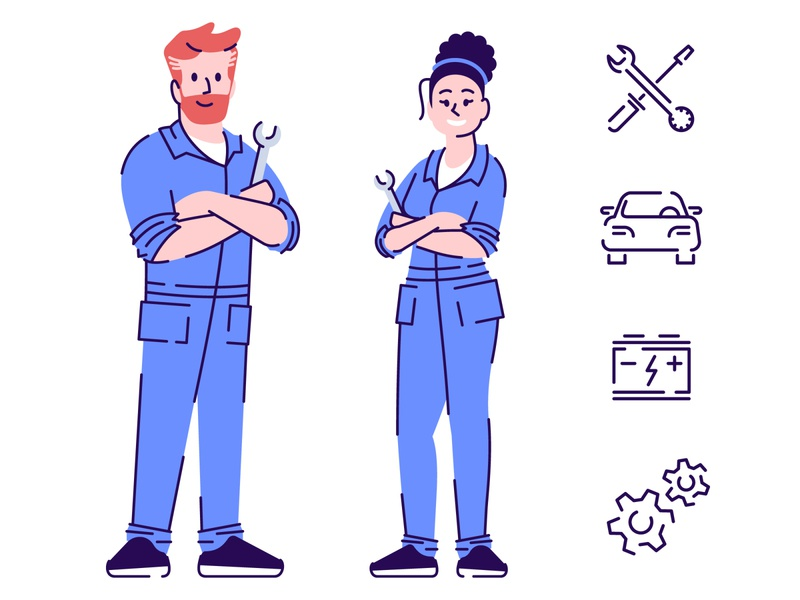 Auto mechanics flat vector characters concepts car repairman repair mechanic icon auto repair character concept character design characterdesign characters character