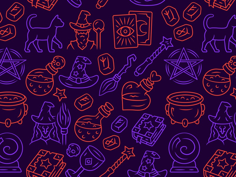 Halloween holiday! Time for magic and sorcery! tarot magic wand broomstick sorcerer occultism magic sorcery pentagram cauldron runes potion poison witch halloween texture background print seamless icon pattern