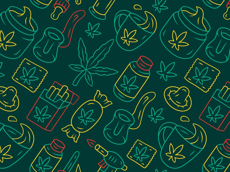 Weed for health, isn't it? cigarette medicinal relaxing drug cannabidiol hashish cbd marijuana legalize lollipop industry cannabis texture background print seamless icon pattern health weed