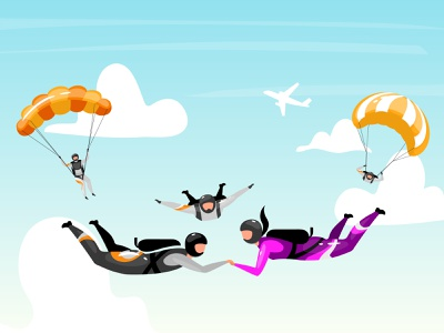 What kind of active rest do you like? outdoor sportsman illustration ocean jump skydiving beach bay boat energy adrenaline extreme sport activity parachute parachuting watersports seaside character flat cartoon