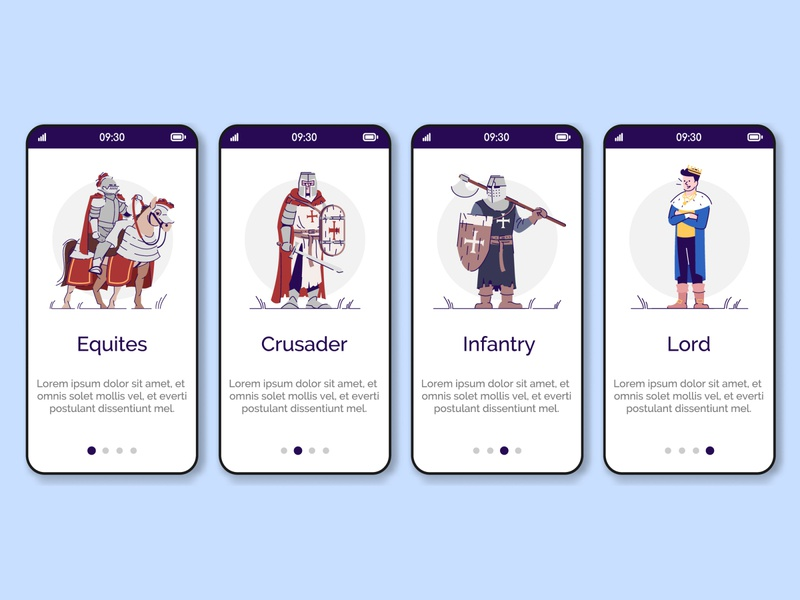 Pick your class! Who are you playing for? strategy knight reconstruction fantasy war kingdom tournament class menu game equites crusader medieval infantry lord ui mobile interface screen app