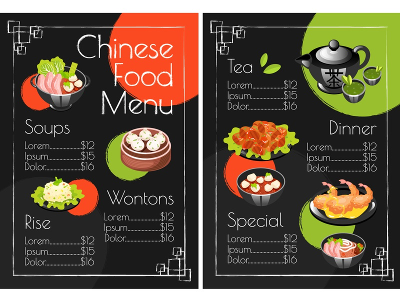 Time to order something yummy! What do you want? eastern dish asian food asian design concept special dinner ceremony tea rise soup menu chinese chinese food flyer layout brochure