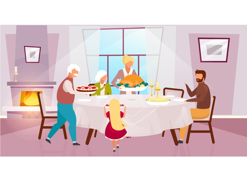 Have you forgotten to meet your family? care husband daughter grandpa grandma birthday party new year thanksgiving illustration concept cozy comfort meet family holiday character cartoon flat