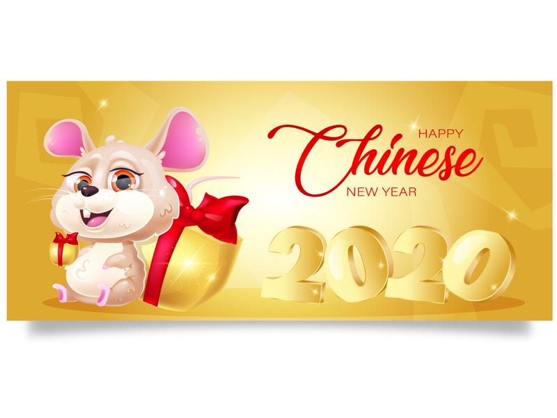 Are you ready to the New Year? rat zodiac mouse calendar banner wreath gold winter holidays 2020 new year chinese new year kawaii art animal children design print cartoon cute kawaii