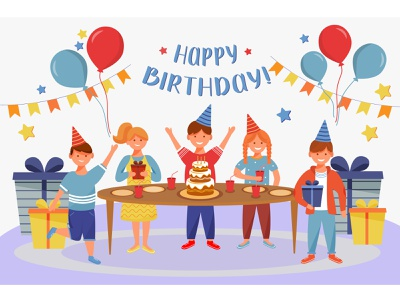 Do you know when your friends are celebrating their birthday? decoration friends friendship kid party joy woman man girl boy celebration illustration birth announcement birthday party birthday card birthday character flat cartoon