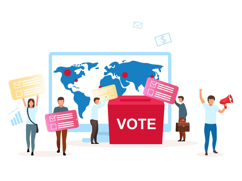 Choose only the best for yourself! metaphor cartoon illustration concept majority ideology democracy parliament president character election voter citizen choosing candidate campaign votes
