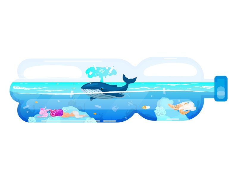 Humanity should stop polluting oceans! protection problem sea enviroment fish marine junk garbage ecology eco whales plastic illustration concept save pollution ocean animal