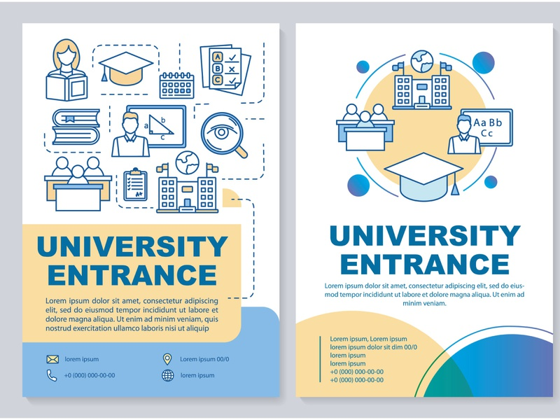 Have you chosen which university you want to enter? presentation learn study student education college cover acceptance academic high school exam entrance university concept design flyer layout brochure