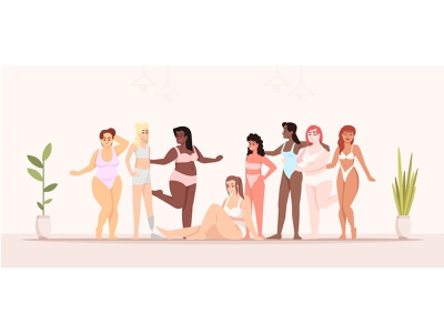 We're all different, but we're all beautiful! equality lady weight plus size feminism bodypositive selfcare swimsuit vector love yourself beautiful power female women character flat cartoon positive body