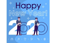 Merry Xmas and Happy New Year for all who protect us! :) holiday cards card design idea 2020 trend 2020 afro police soldier new year happy new year xmas flat character cartoon card design concept