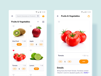 Product Listing & Product Details uikit design modern ui user center design online grocery product details product listing android template minimal design e-commerce shopping grocery user experience design user interface design