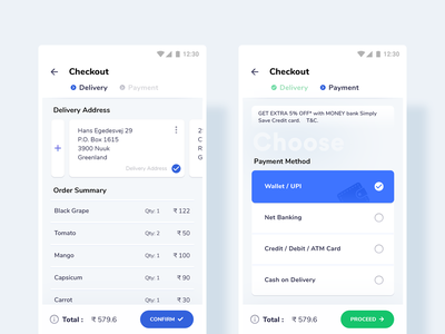 Checkout - Grocery App interaction android template app design envatomarket grocery app grocery checkout process checkout form minimal design online grocery shopping shooping ui uikit user experience design user interface design payment delivery order summary order details checkout