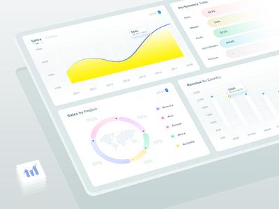 Dashboard Widgets - For seller tool minimal design isometric style mockup vendor sales ui elements expereince web app analytics graphs charts stats statistics web admin interface ux ui widgets dashboard