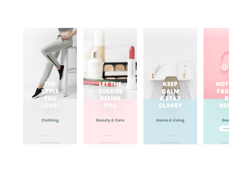 Walkthrough - FashionStore beauty products clothing interaction clean design online shopping store design creative colorful design ios android concept start screen walkthrough ui ux shopping minimal fashion e-commerce 2019