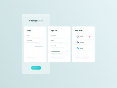 Login / Signup / Joinwith - FashionStore android app ios app ux ui design uidesign uikit shopping app minimal join with signup register sign in login interaction design fashion e-commerce dribbble shot creative clean add design 2019