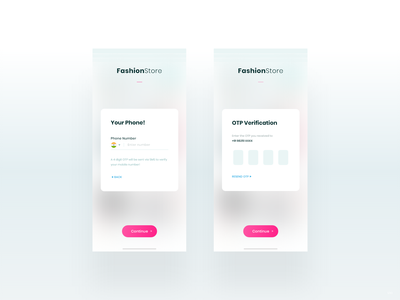 Phone Verification with OTP - FashionStore ios-android steps popup dialog mobile verify minimal ux ui e-commerce shopping app fashionstore form login new user signup register registration phone number phone verification otp