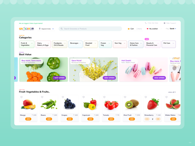 Home for GroceryStore Web App! web templates html uidesign front end design clean ui responsive design minimal e-commerce online shopping web design ux ui shopping grocery store grocery design web