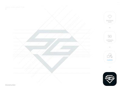 SG logo - Exploration 1 logo concept logo 2d design vector logo construction sketch illustraion creative typography flat letter identity sg diamond symbol mark icon branding logo