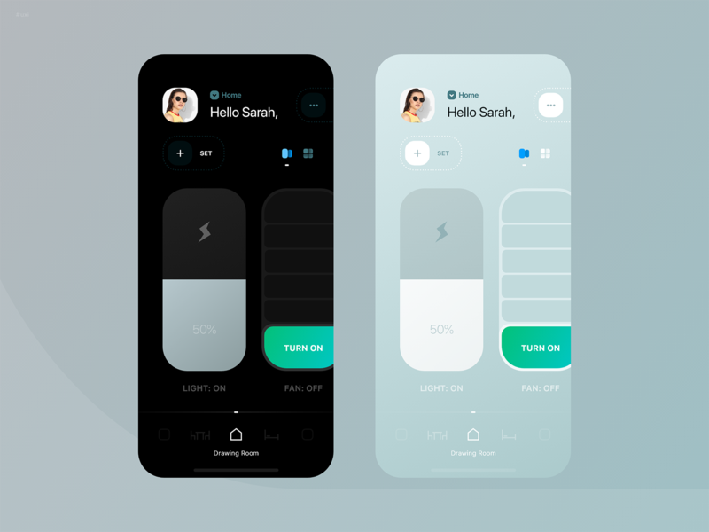 HomeApp - dark & light mode jaydev creative home automation iot app smart home user experience design user interface design concept app visual design exploration ui  ux app design android ios interaction design minimal dark mode light mode iot home