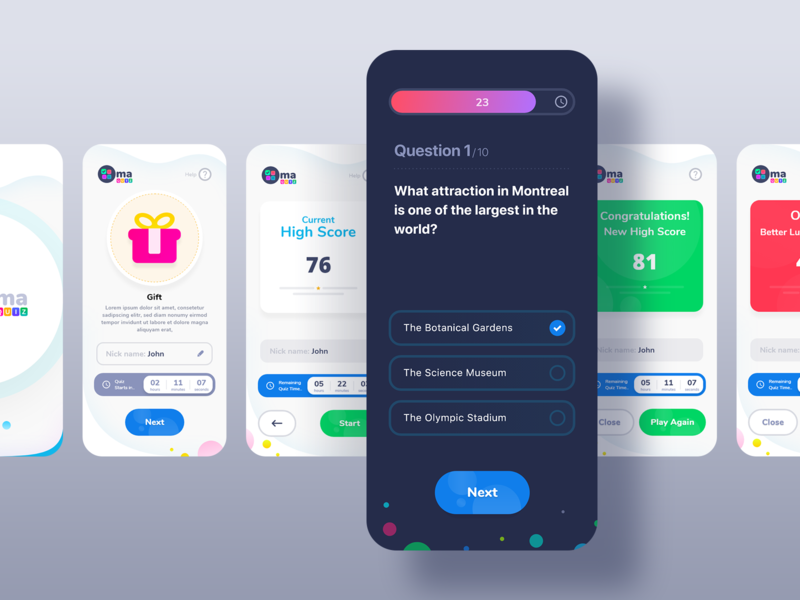 Quiz App UI - Oma questions app design social graphic trivia game play quiz ui design colorful minimal modern interaction user interaction user experience user interface playful creative uiux quiz app quiz