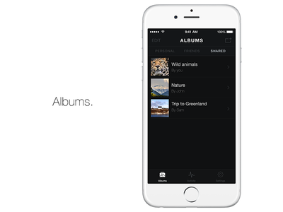 Albums. Home screen