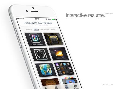 Interactive resume. Concept app.