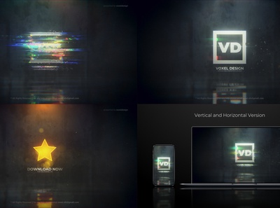 Glitch Dissolve Logo Reveal logo design after effects 3d art direction motion graphics ​​ epic dissolve metal logo shine reveal particles dark cinematic glitch