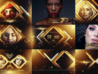 Gold Awards Package - 100% After Effects Template golden gold glowing glow glitter frame festive fashion design confetti cinematic ceremony celebration bokeh black background backdrop awards award abstract
