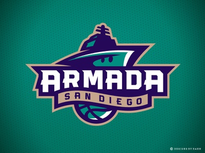 San Diego Armada Basketball Primary Logo ship navy armada branding logo sports the basketball league basketball logo san diego armada