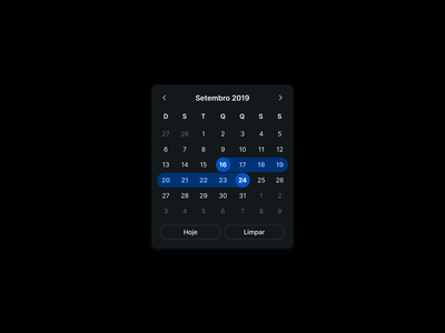 Lil date picker night mode dark mode ui design period range datepicker date ui date picker