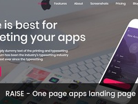 RAISE – One page apps landing page