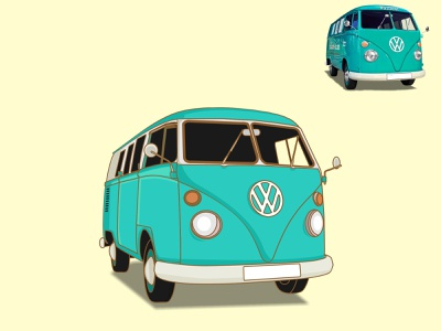 Volkswagen Classic Car illustrator flat minimal vector illustration design