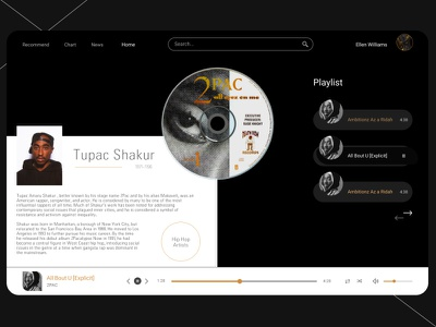 Musicly golden black  white white black ui design uidesign ui webdesign music player musician music minimal web design