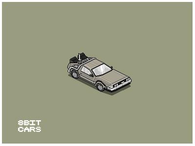 8 Bit Cars | Delorean 8 bit cars pixel art