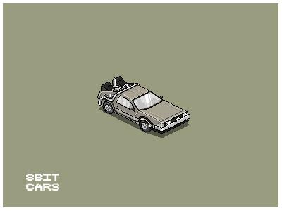 8 Bit Cars   Delorean 8 bit cars pixel art