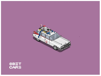 8 Bit Cars | Ghostbusters 8 bit cars pixel art