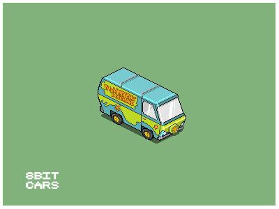 8 Bit Cars   Mystery Machine 8 bit cars pixel art