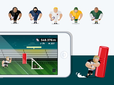 Rugby Game Screen players tackle runner mobile ios game rugby