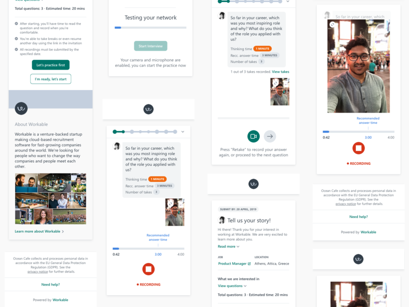 Video Interviews mobile fullscreen hiring ux ui experience design remote interview video