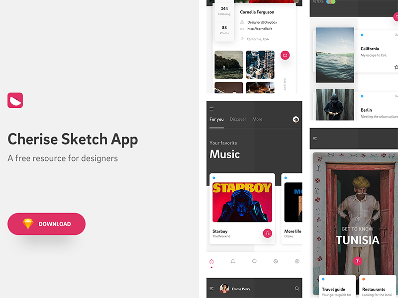 Cherise Sketch App - Free Design Resource Download ui sidebar navigation ecommerce music profile feed kit app mobile design resource freebie