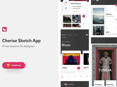 Cherise Sketch App - Free Design Resource Download ui sidebar navigation ecommerce music profile feed kit app mobile design resource freebie
