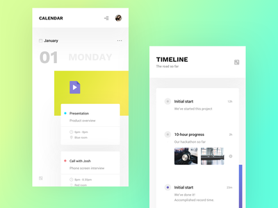 Calendar and Timeline minimal white user experience full screen navigation days ui feed timeline calendar app design