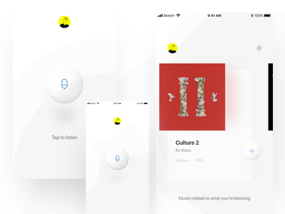 Discover app minimalistic settings profile listening splash list card music discover glass app interaction